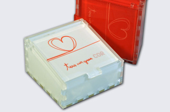 Methacrylate boxes digital printing and laser cutting (own product, designed and manufactured entirely in Qprint)